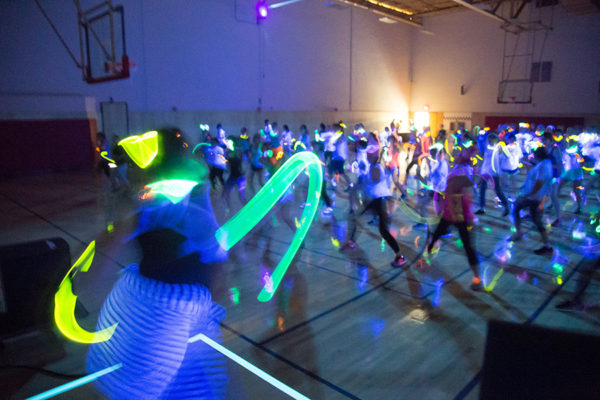 Glow-in-the-dark series group fitness class
