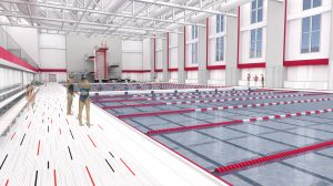 A digital rendering of the new Nicholas Recreation Center aquatic center diving well.