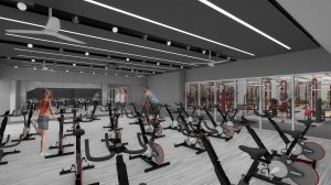 A digital rendering of the new Nicholas Recreation Center cycling studio