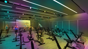 A digital rendering of the new Nicholas Recreation Center cycling studio with multi-colored lights.