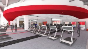 A digital rendering of the Nicholas Recreation Center cardio studio equipped with treadmills