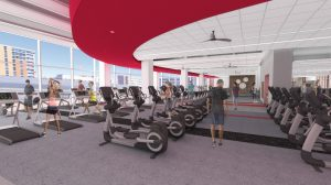 A digital rendering of the Nicholas Recreation Center cardio room with rows of treadmills and elliptical machines
