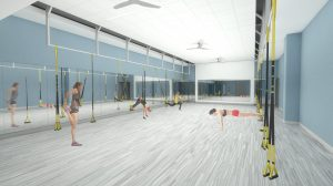 A digital rendering of the new Nicholas Recreation Center fitness studio.