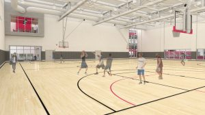 A digital rendering of the new Nicholas Recreation Center basketball courts.