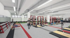 A digital rendering of the Nicholas Recreation Center weight room equipped with squat racks, free weights, and benches