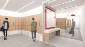 A digital rendering of the Nicholas Recreation Center Women's Locker room