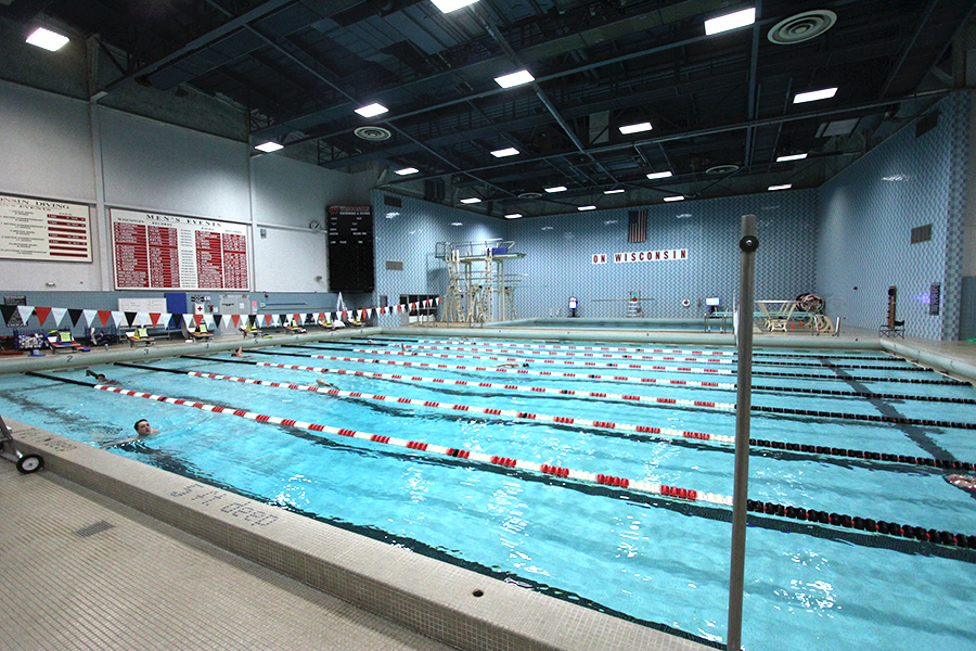Photo of the indoor Natatorium Pool showing 8 swimming lanes