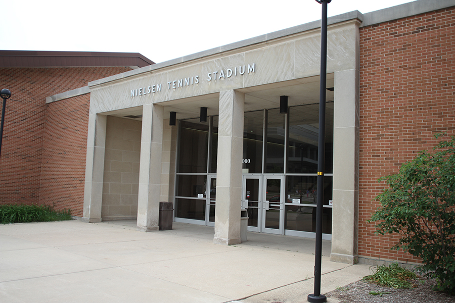 Photo of the Nielsen Tennis Stadium front entrance.