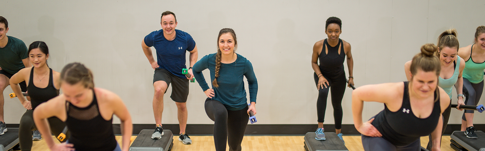 Participants in a high intensity interval training class