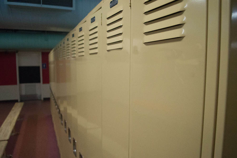Photo of a row of lockers in a locker room