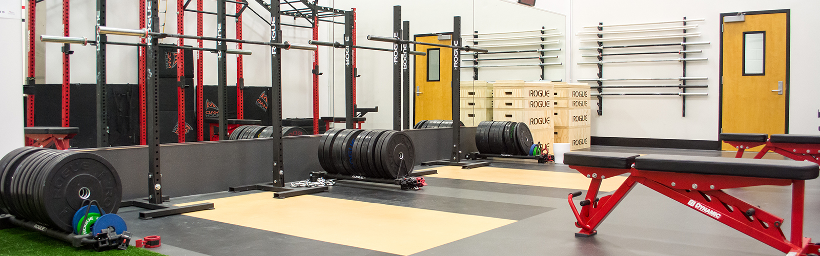 Photo of an indoor weight room equipped with benches, plates, squat racks, and barbells