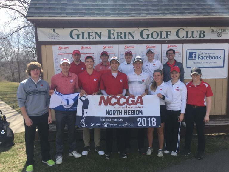 Photo of the UW Golf team standing together outside of the Glen Erin Golf Club