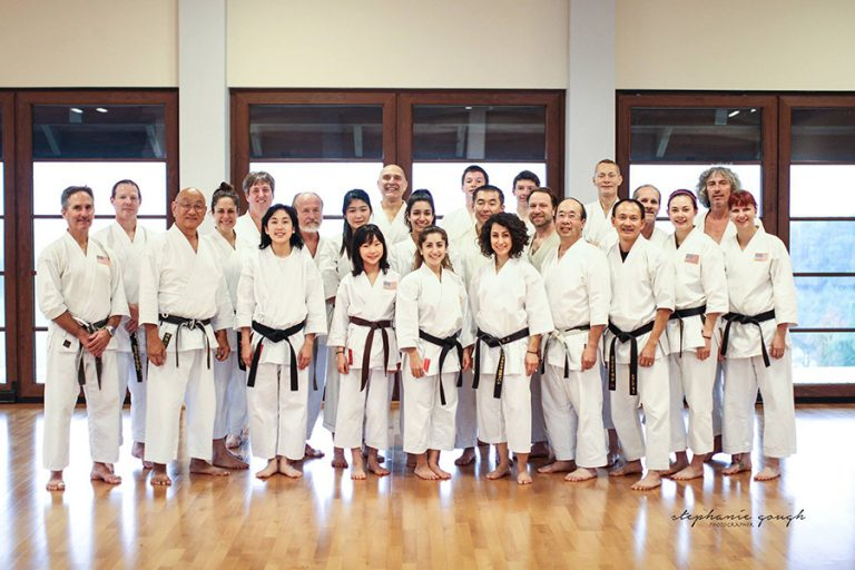 Photo of the UW Japanese Karate team standing together in matching uniforms