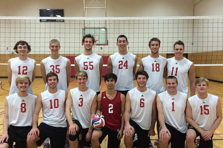 Photo of the UW Men's volleyball team standing near an indoor volleyball net