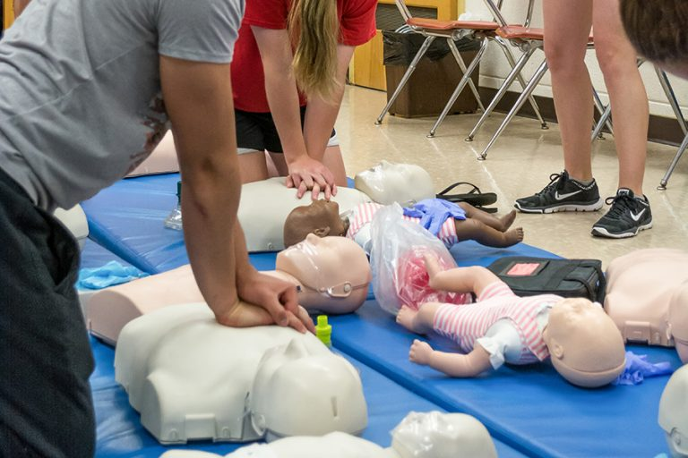 Photo of a CPR class in session