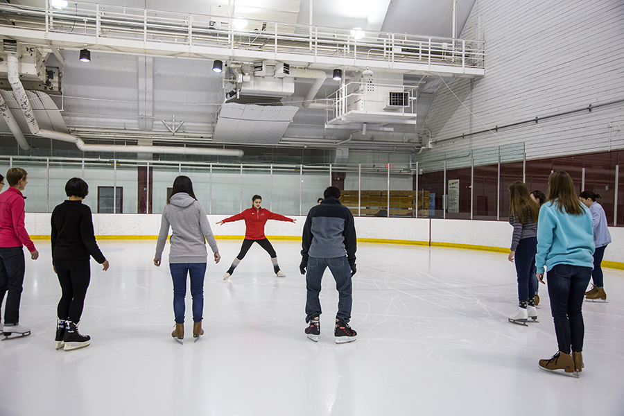 image of instructor leading a skate lesson