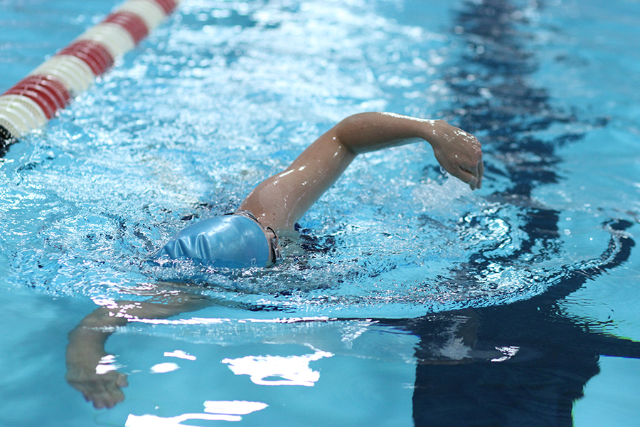 Photo of a person performing a front stroke in an indoor pool