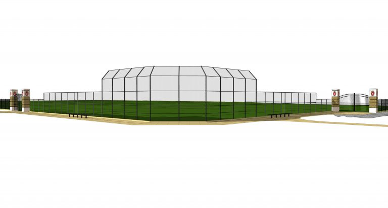 Digital rendering of the view behind the backstop of the new Near West field