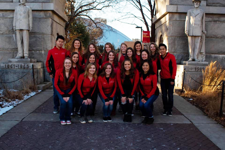 Group photo of the figure skating team at UW-Madison.