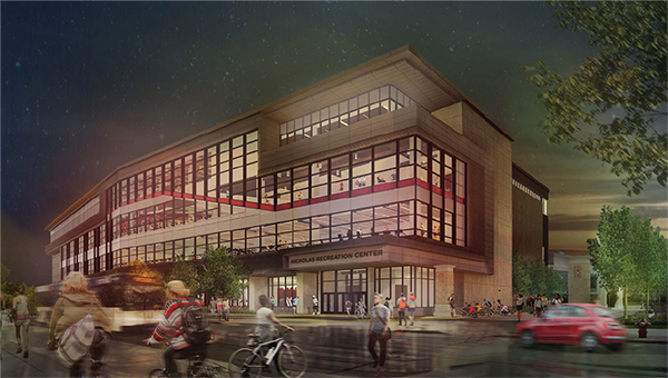 A digital rendering of the Nicholas Recreation Center design.