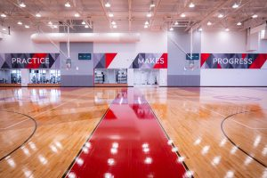 Basketball courts intended for multiple sports including basketball, volleyball, badminton, and futsal.