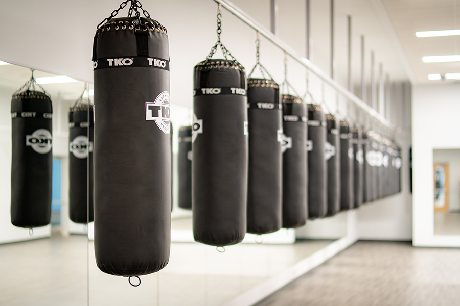 A photo of heavy bags in a multipurpose studio at the Nicholas Recreation Center