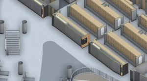 Virtual rendering of the new Natatorium universal locker rooms