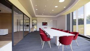 An architect's rendering of the conference room in the new Natatorium