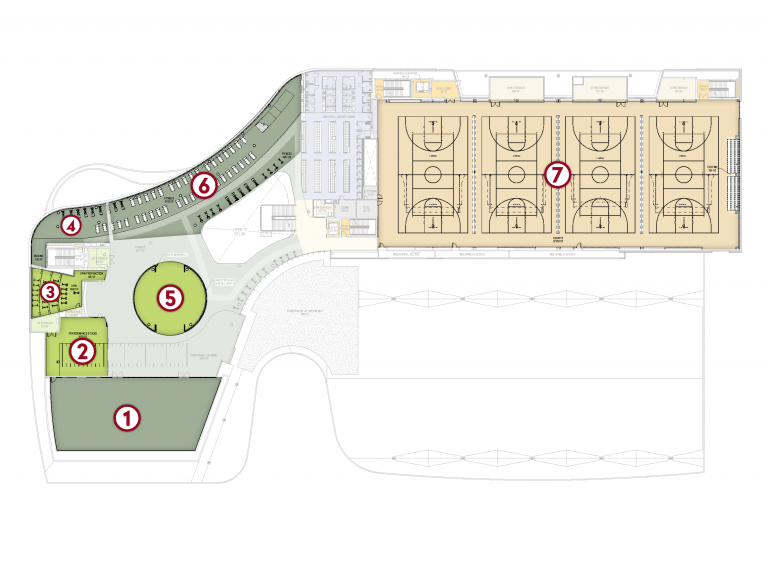 A floorplan of the new Natatorium with spaces numbered