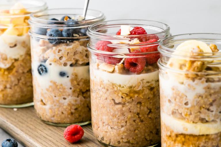 Photo of oats in mason jars.